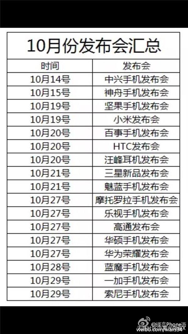 10月份手机发布会汇总()